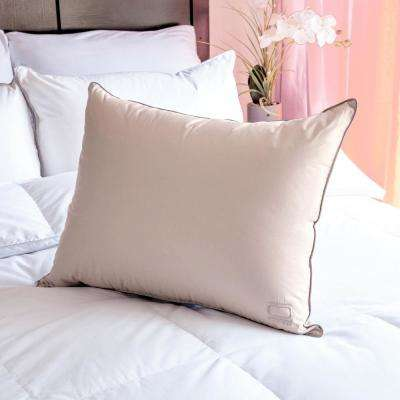 Queen White Down Pillow in Soft Clay