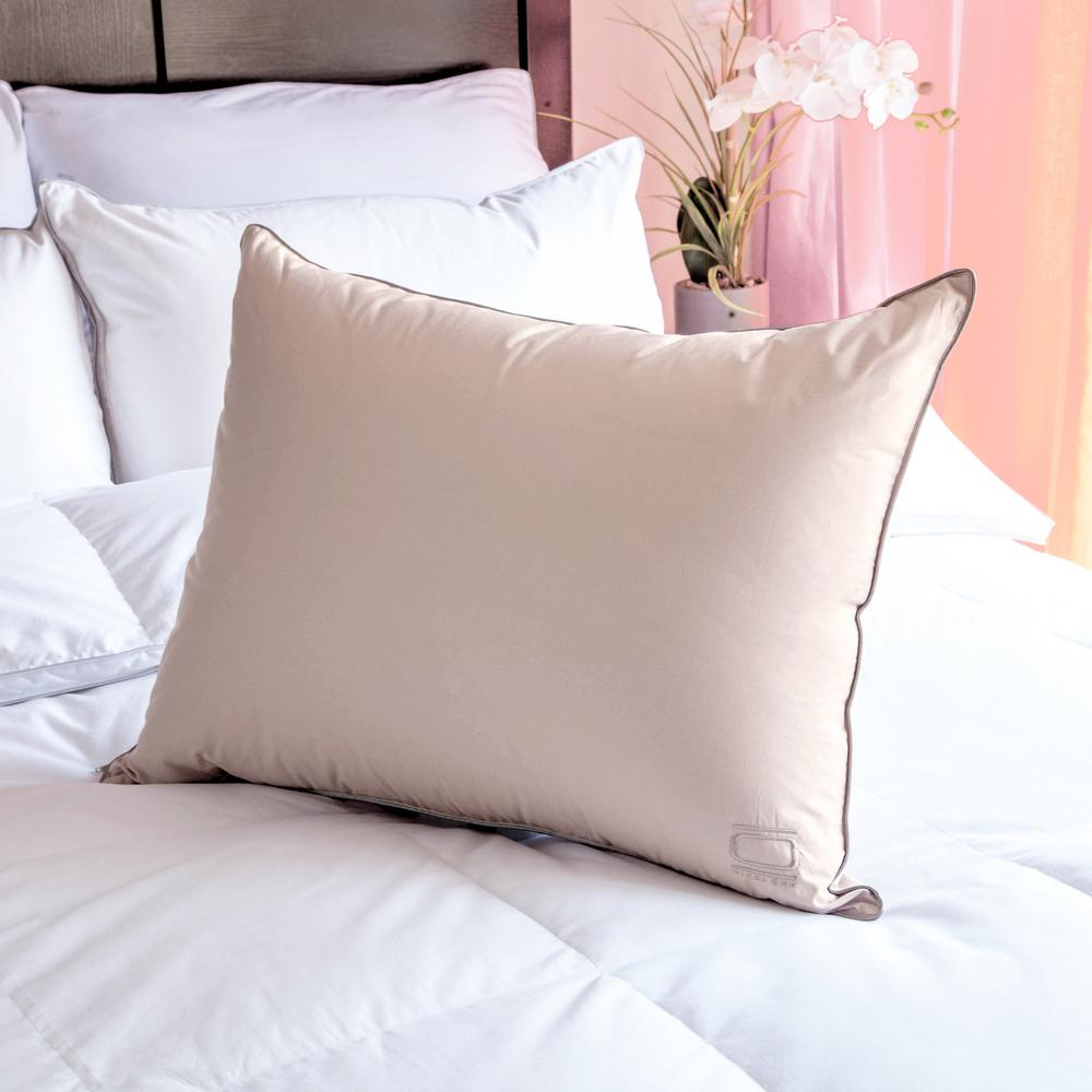 Nikkichu: Nikki Chu Queen White Down Pillow In Soft Clay-BMI_10642L