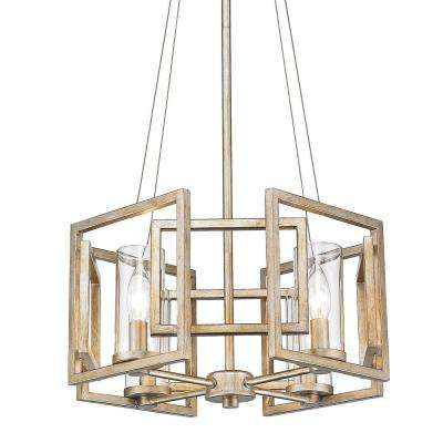 Marco 4-Light Gold Pendant Convertible with Clear Glass