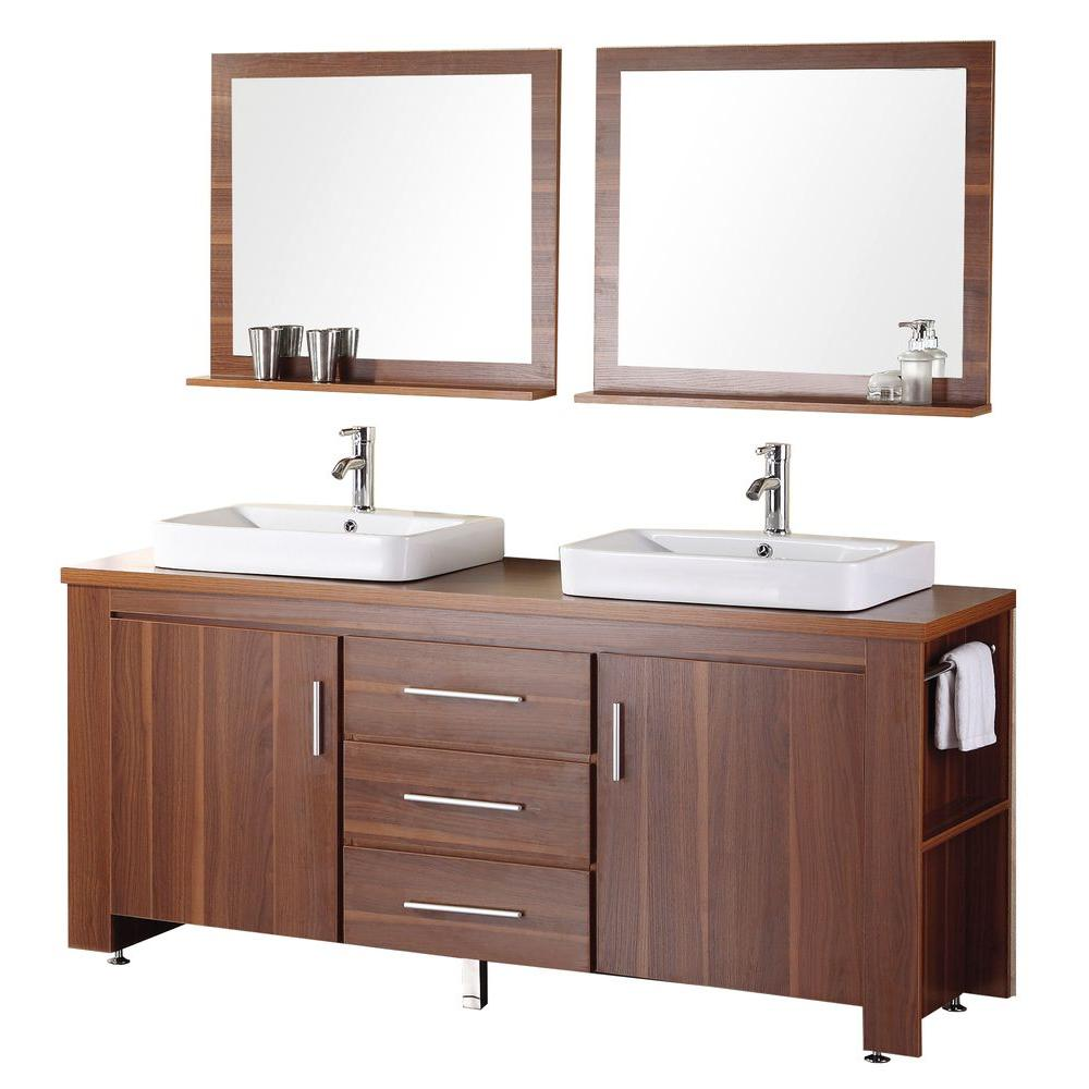 Design Element Washington 72 in. W x 22 in. D Vanity in Toffee with Wood Vanity Top and Mirror in Toffee