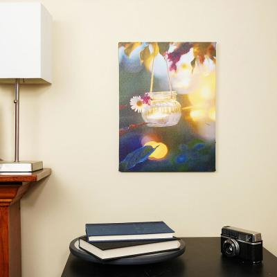 15.75 in. x 11.75 in. Tealight Candle with Daisy Scene LED Lighted Canvas Wall Art