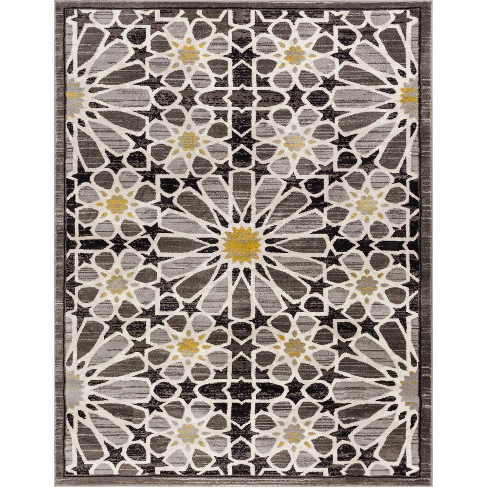 loomed rug has a modern style