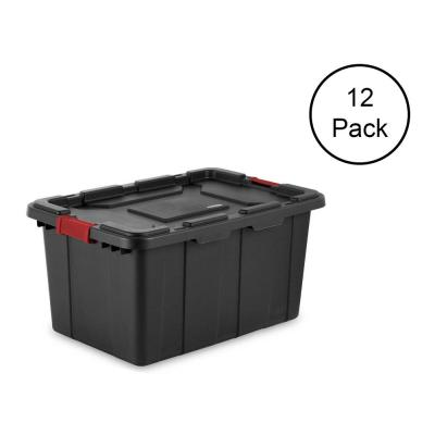 27 Gal. Durable Rugged Industrial Tote with Red Latches, Black(12-Pack)