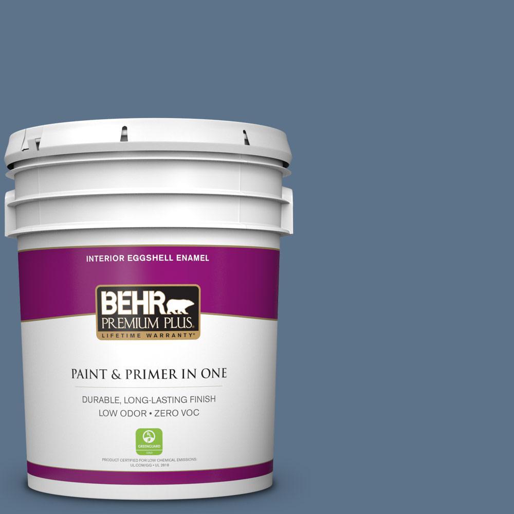 5 gal. #BXC-75 Saltbox Blue Zero VOC Eggshell Enamel Interior Paint