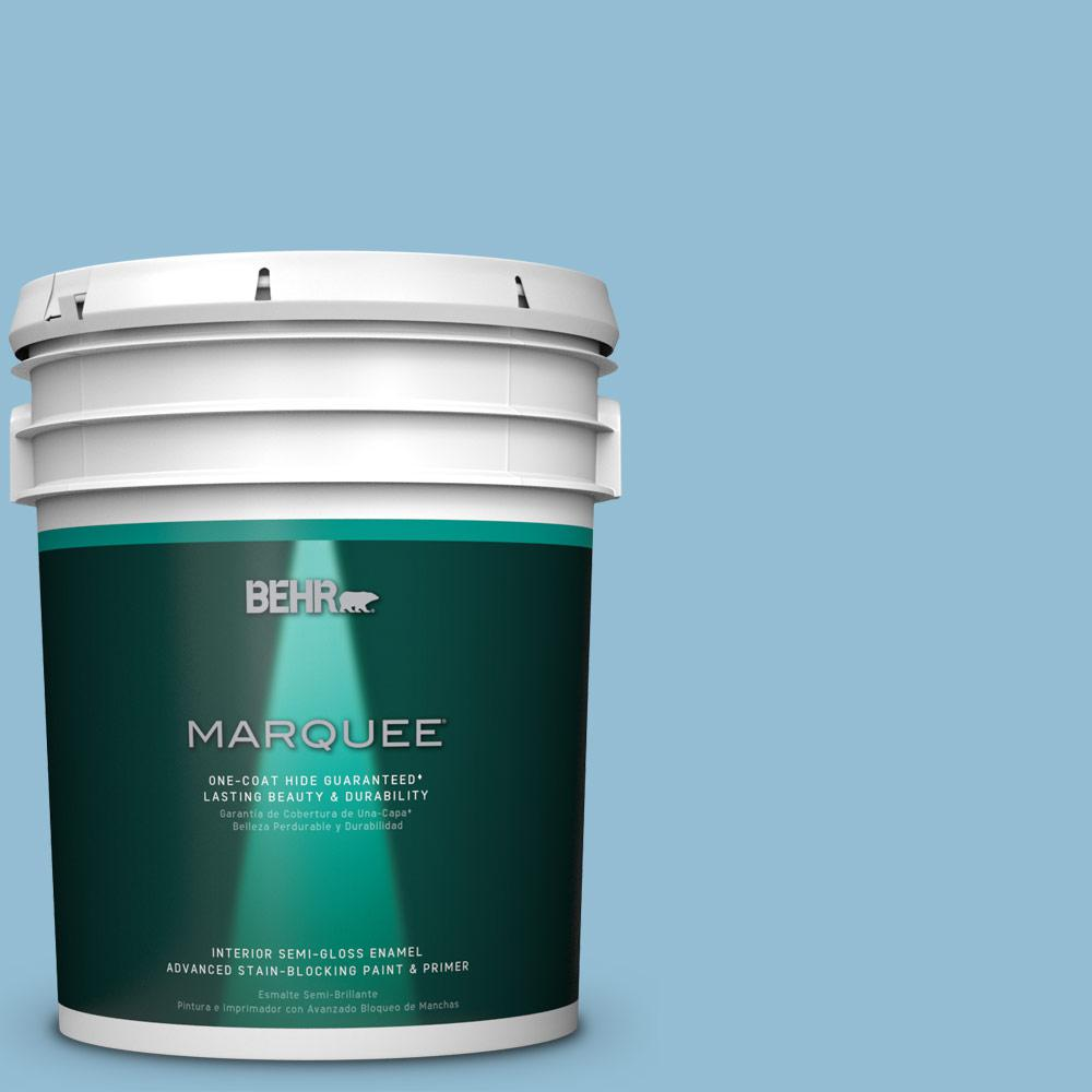 5 gal. #M500-3 Blue Chalk One-Coat Hide Semi-Gloss Enamel Interior Paint