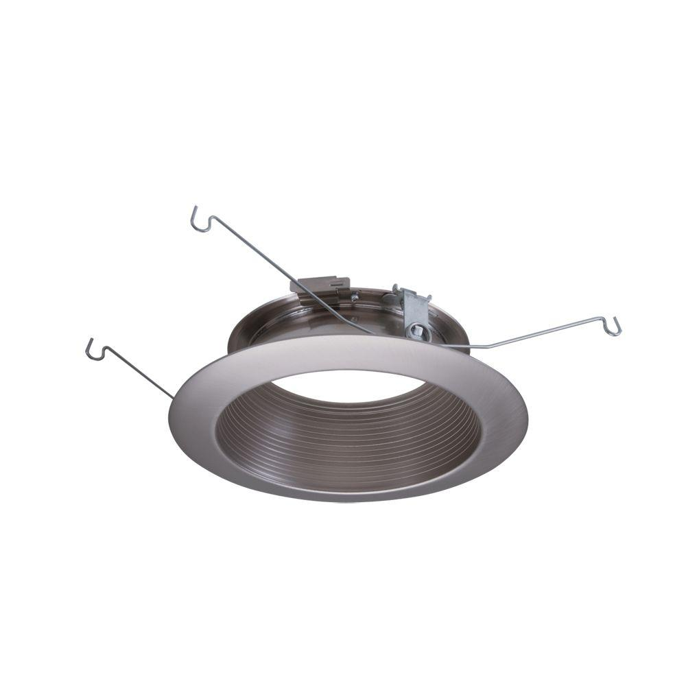 Halo ML 5 in. Satin Nickel LED Recessed Ceiling Light Baffle Flange Attachable Module Trim