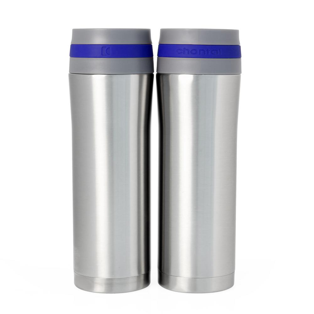 Vacuum Insulated 15 oz. Blue Band Stainless Steel Travel Mug (Set