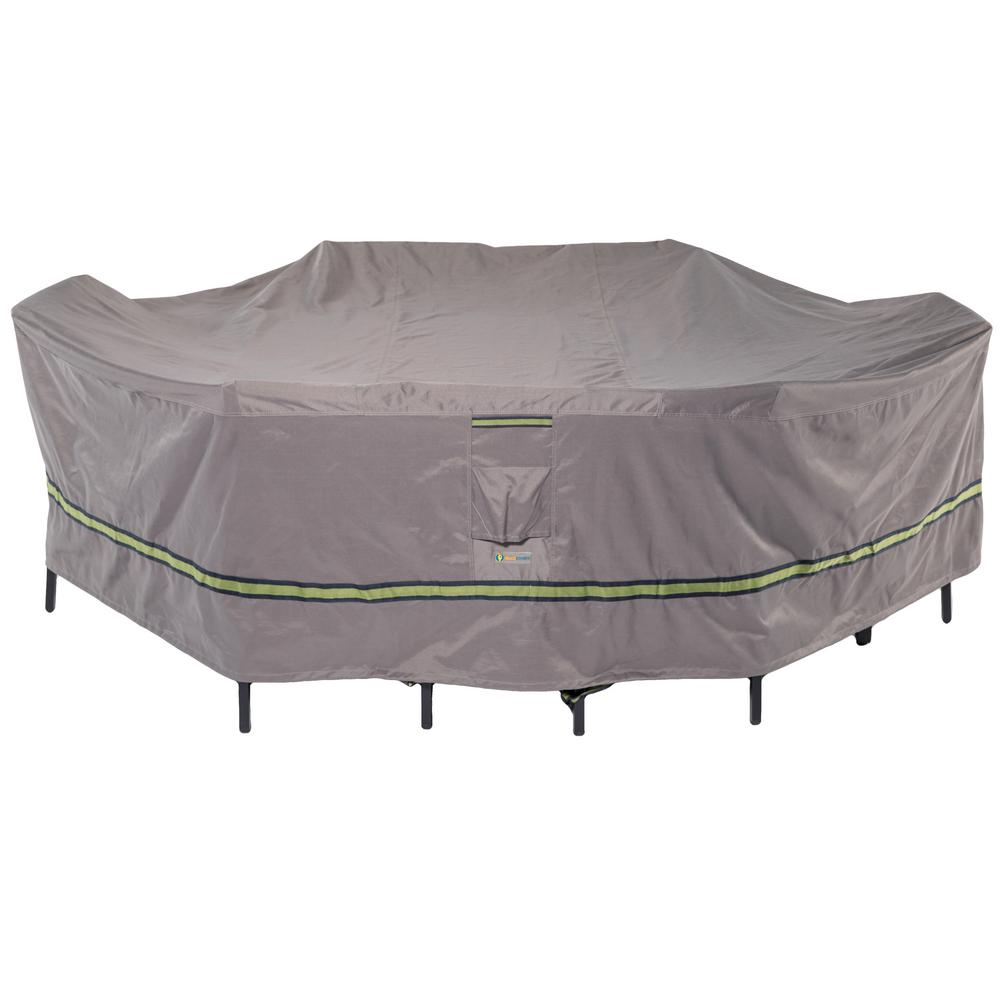 Soteria 109 in. Grey Rectangular/Oval Patio Table with Chairs Cover