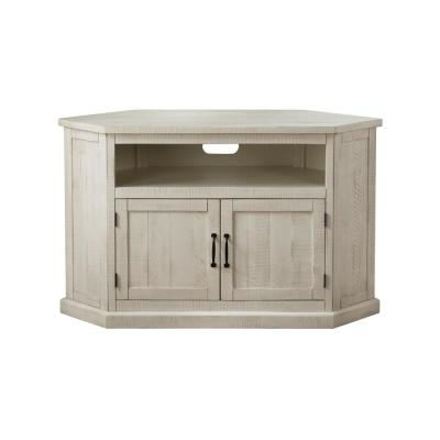 Rustic Corner White Metal Corner TV Stand Fits TVs Up to 55 in. with Cable Management