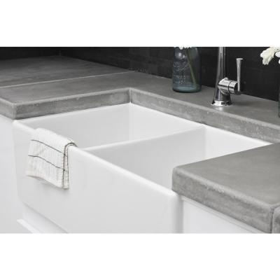 Brooks II All-in-One Farmhouse Fireclay 33 in 50/50 Double Bowl Kitchen Sink with Pfister Bronze Faucet and Drains
