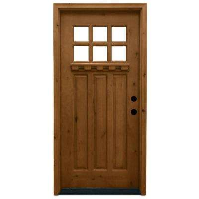 Craftsman 6 Lite Stained Knotty Alder Wood Prehung Front Door  sc 1 st  Home Depot & Wood Doors - Front Doors - The Home Depot