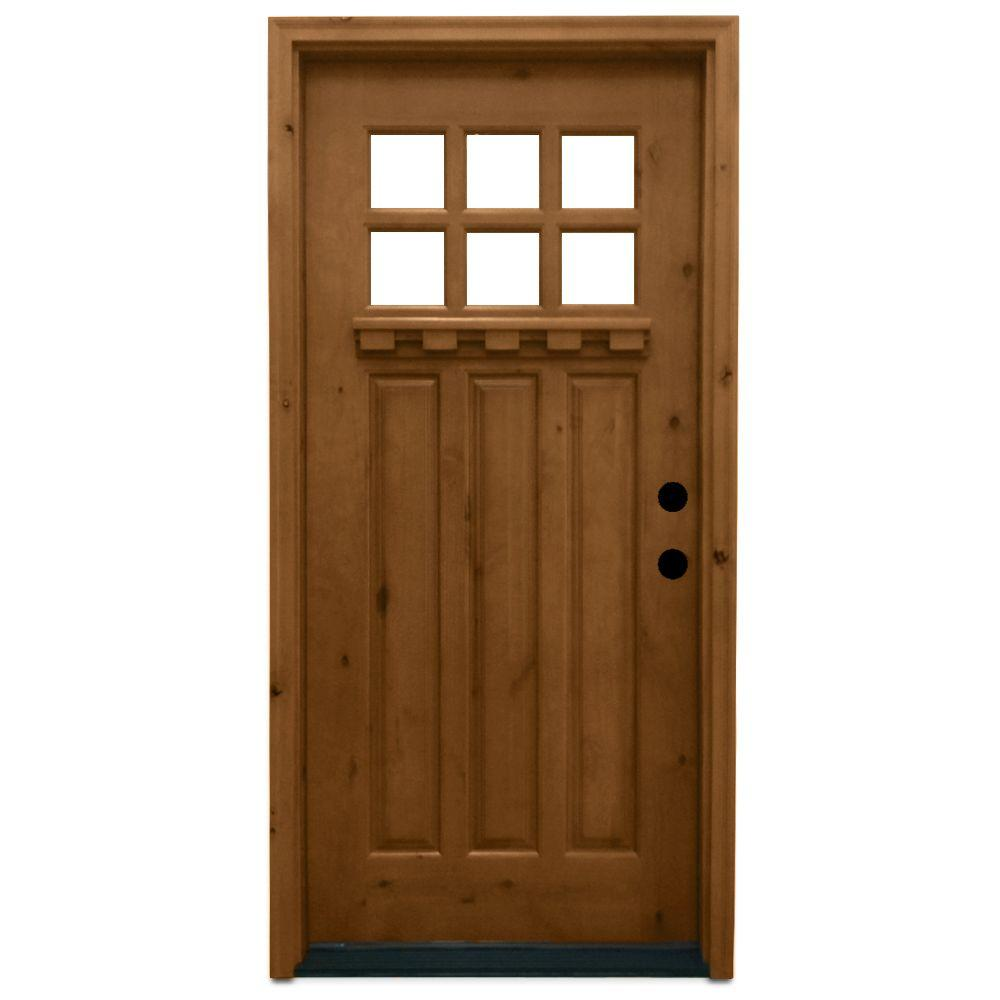 Steves & Sons 36 in. x 80 in. Craftsman 6 Lite Stained Knotty Alder Wood Prehung Front Door