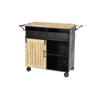 Black Metal and Natural Wood Rolling Cabinet