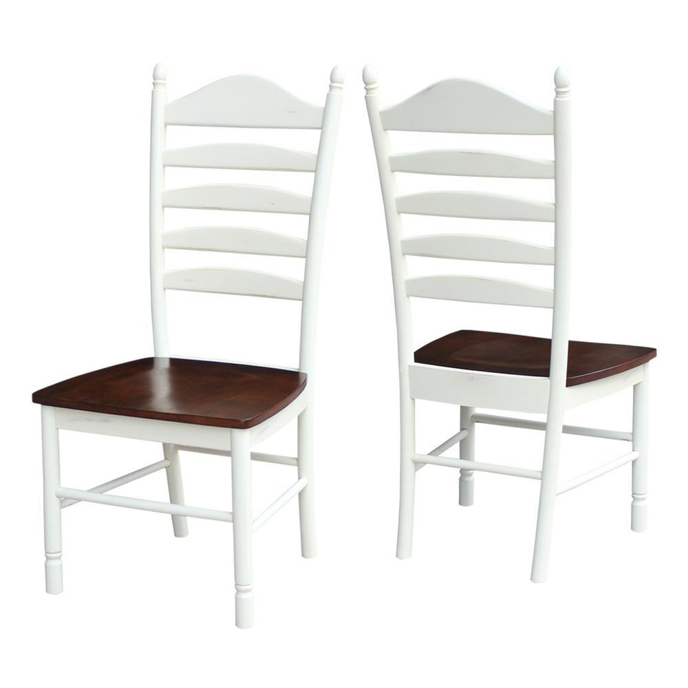 International Concepts Hampton Alabaster And Espresso Wood Ladder Back Dining Chair Set Of 2