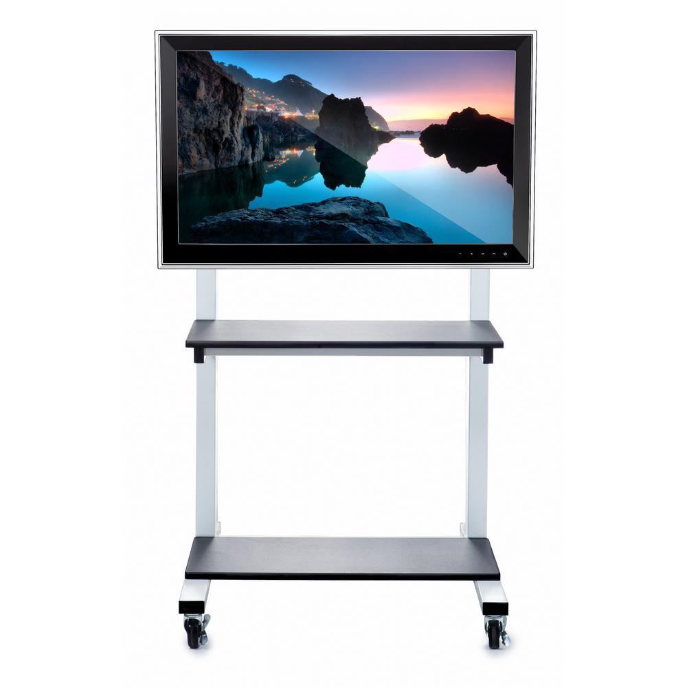 Crank Adjustable Flat Panel TV Cart in White