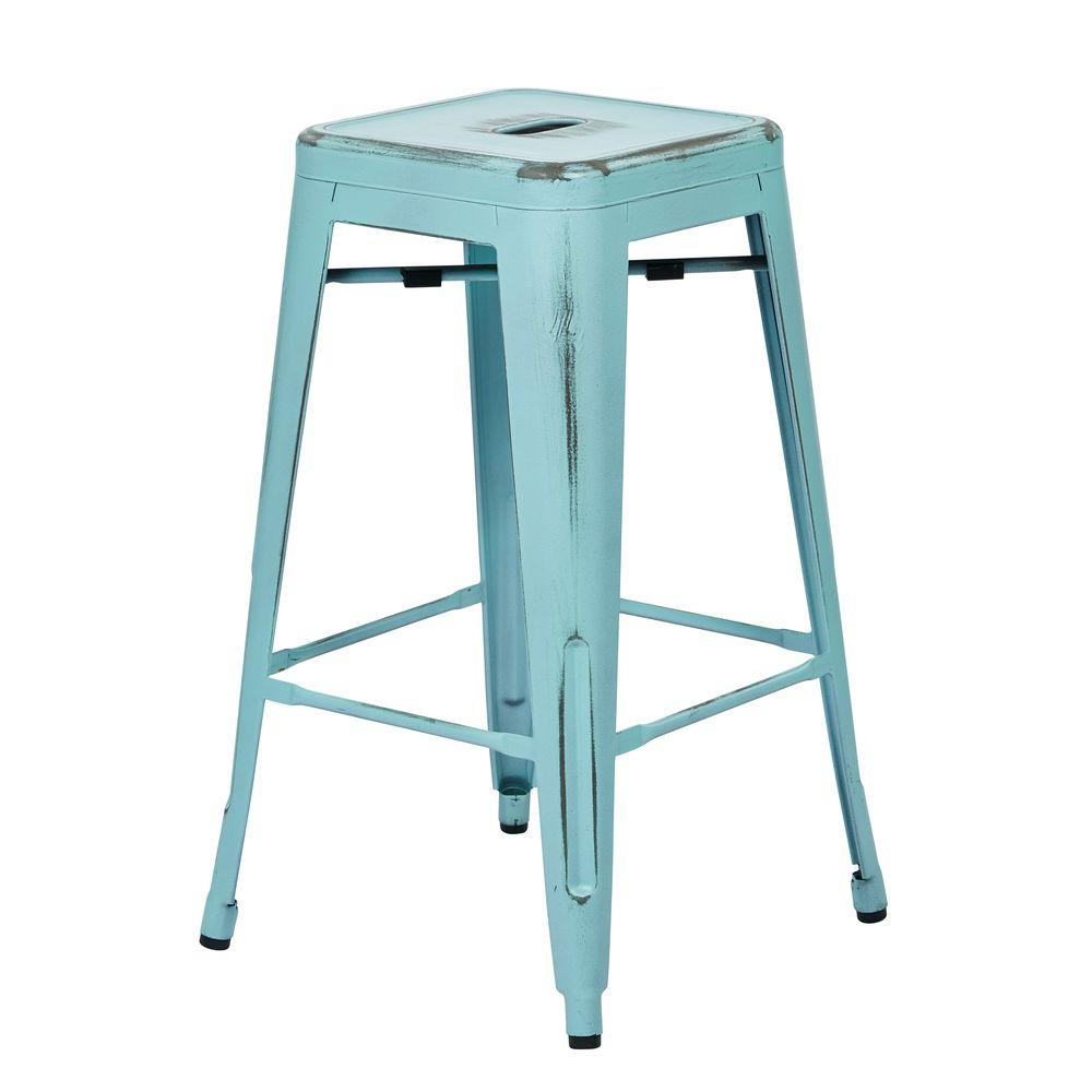 OSP Designs 26 in. Bristow White Metal Bar Stool with Vintage Wood ...