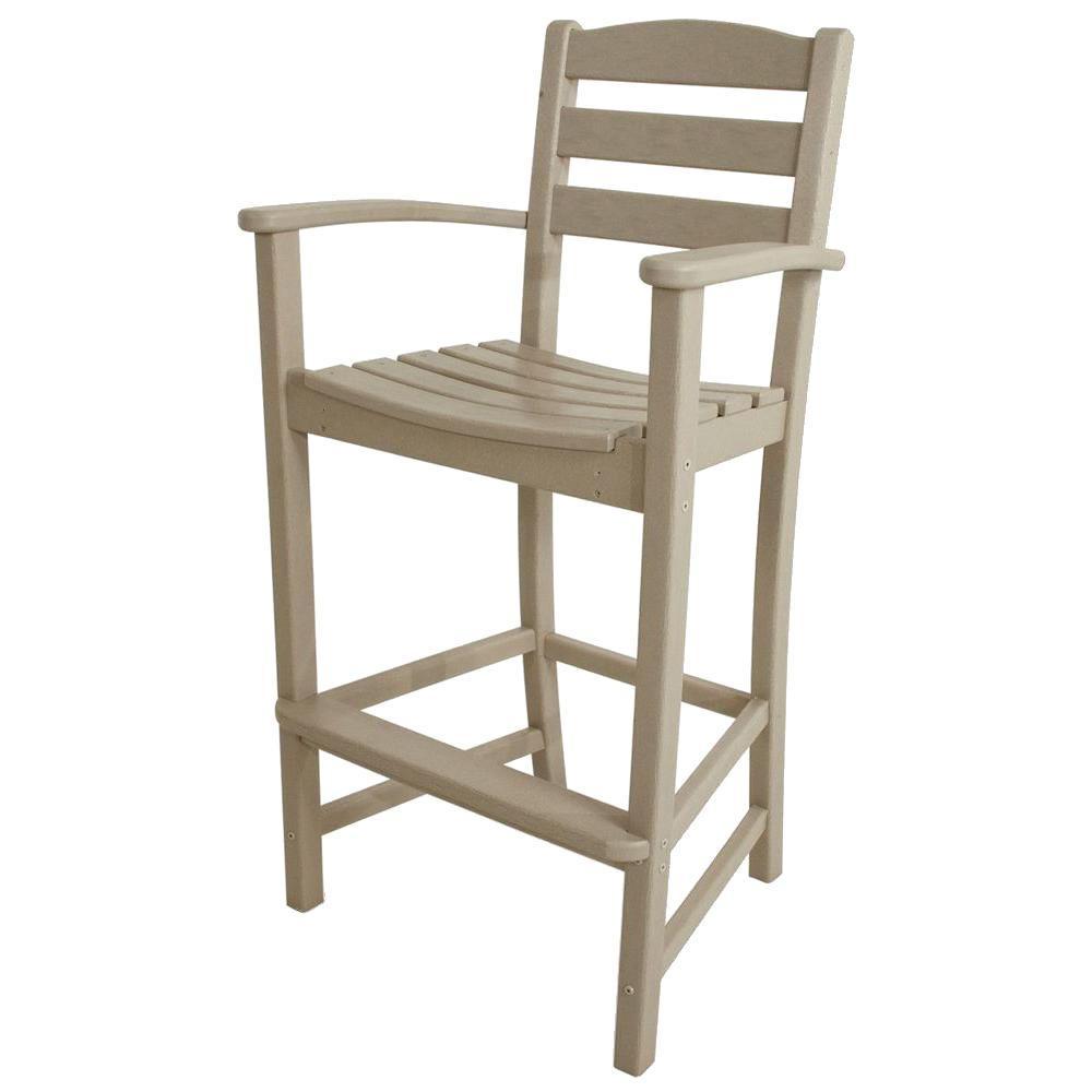 POLYWOOD La Casa Cafe Sand Plastic Outdoor Patio Bar Arm Chair