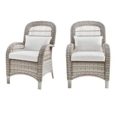 Beacon Park Gray Wicker Outdoor Captain Dining Chair with Cushions Included, Choose Your Own Color (2-Pack)