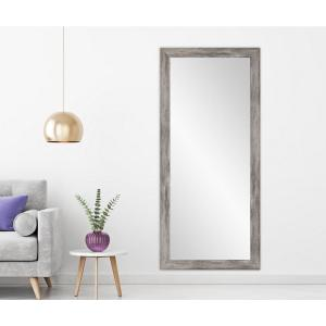 Medium Weathered Gray Composite Hooks Farmhouse Rustic Mirror (32.5 in. H X 66.5 in. W)