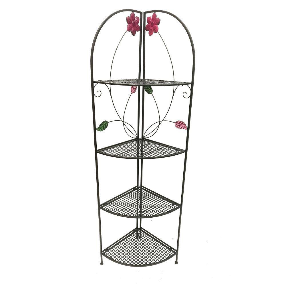 Black Four Shelf Metal Foldable Corner Rack with Flower Accents