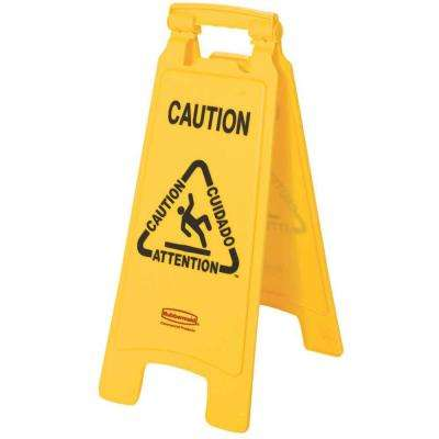 25 in. Multi-Lingual Caution Sign in Yellow