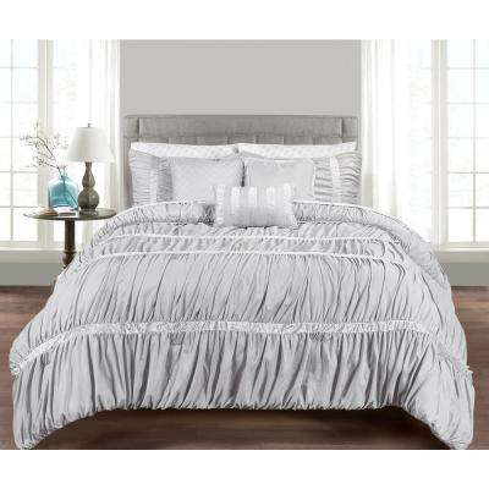 MHF Home Francis 10-Piece Grey King Comforter Set