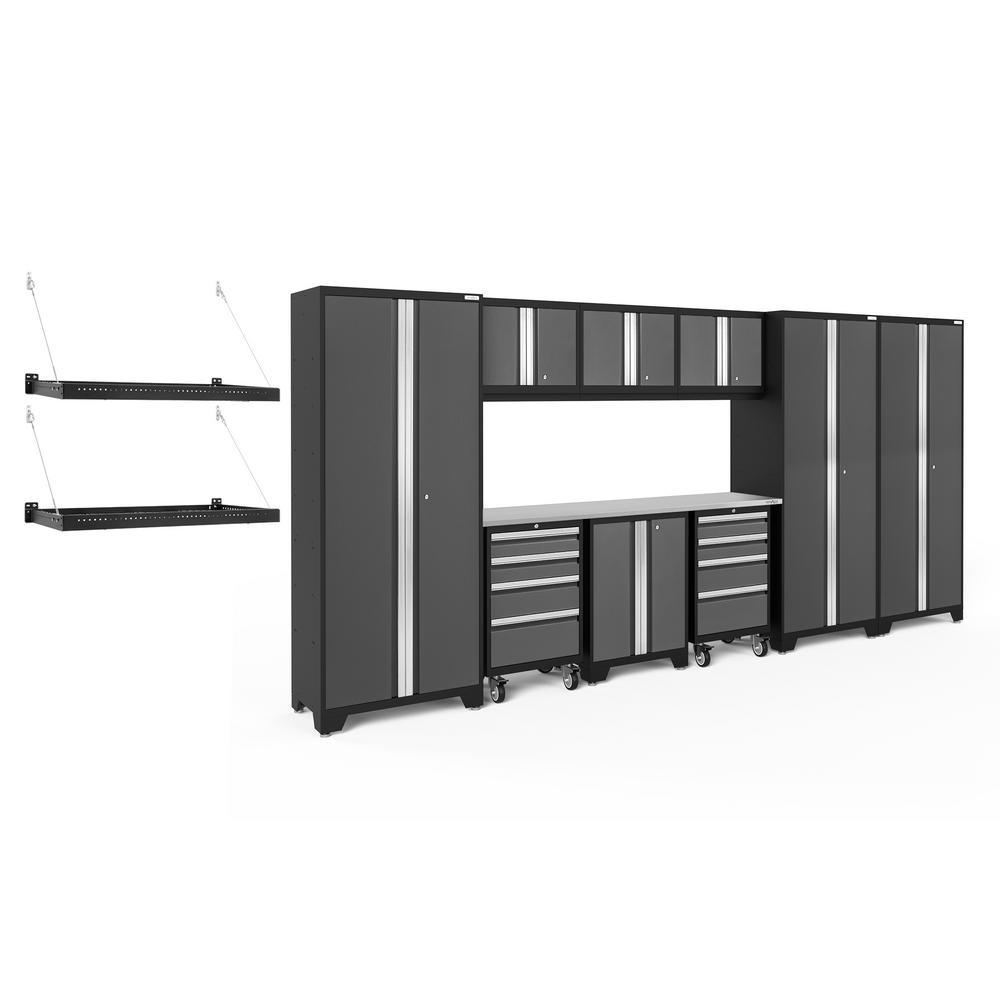 Bold Series 3.0 162 in. W x 77.25 in. H x 18 in. D 24-Gauge Steel Cabinet Set in Gray (10-Piece)