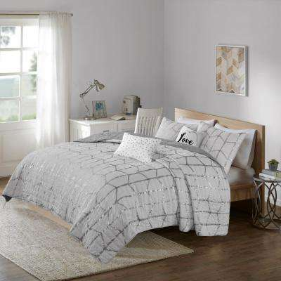 Khloe 5-Piece Grey/Silver King/California King Geometric Coverlet Set