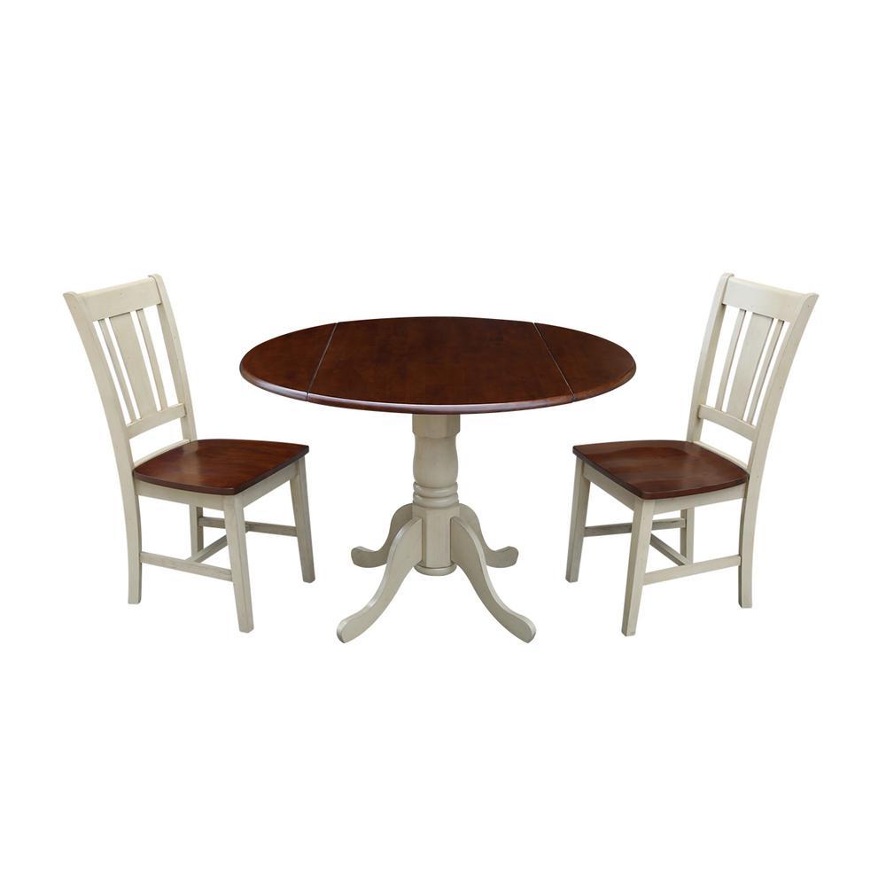 Solid Wood 3-Piece Almond/Espresso Dropleaf Dining Set