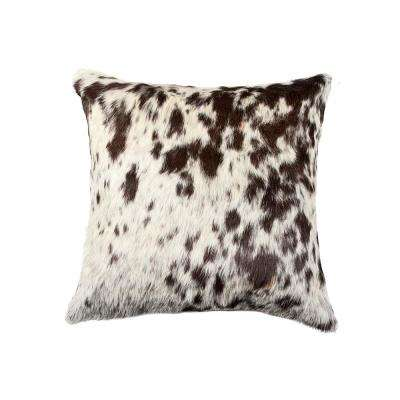 Torino Kobe Cowhide 18 in. x 18 in. Salt and Pepper Chocolate/White Pillow