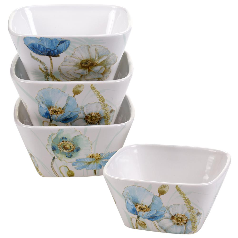 The Greenhouse Blue and Green Poppies Ice Cream and Cereal Bowl