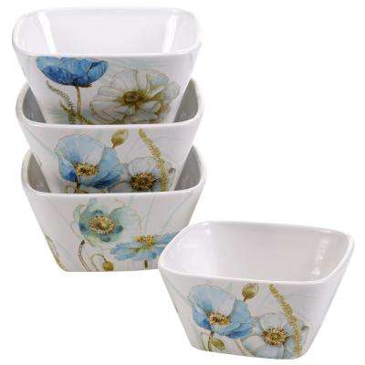 The Greenhouse Blue and Green Poppies Ice Cream and Cereal Bowl (Set of 4)