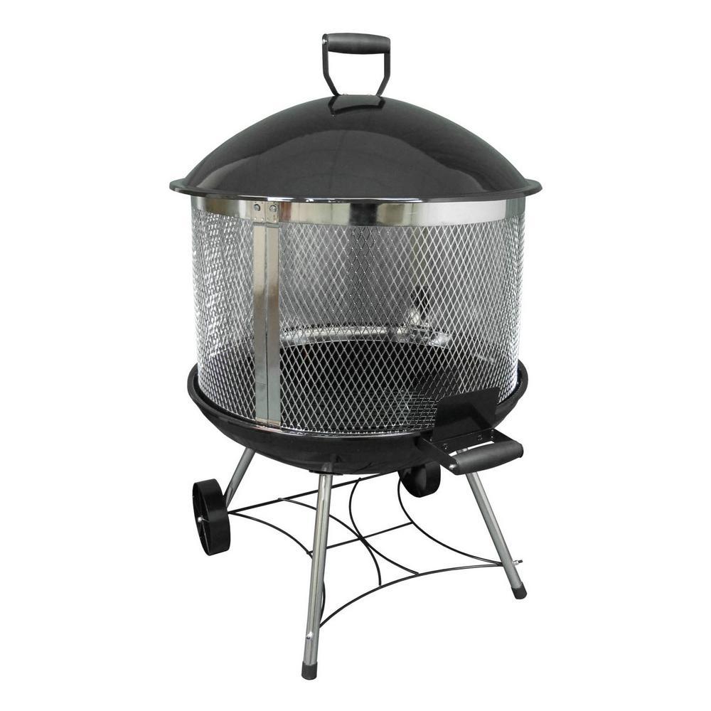 Heatwave 31.5 in. x 45.5 in. Round Steel Wood Burning Firepit in Black