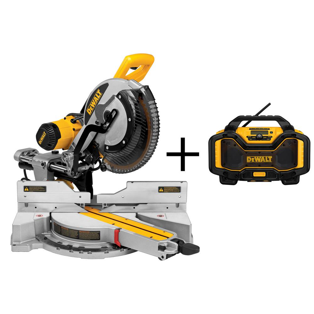 Dewalt 15 amp 12 in double bevel sliding compound miter saw with double bevel sliding compound miter saw with bonus bluetooth greentooth Image collections