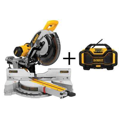 15-Amp 12 in. Double Bevel Sliding Compound Miter Saw with Bonus Bluetooth Radio Charger