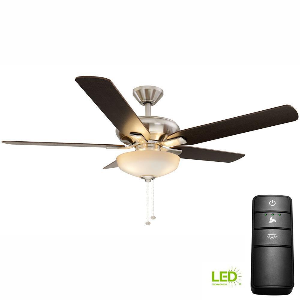 Hampton Bay Holly Springs 52 In Led Bn Ceiling Fan With Light Kit And Remote Control 19976