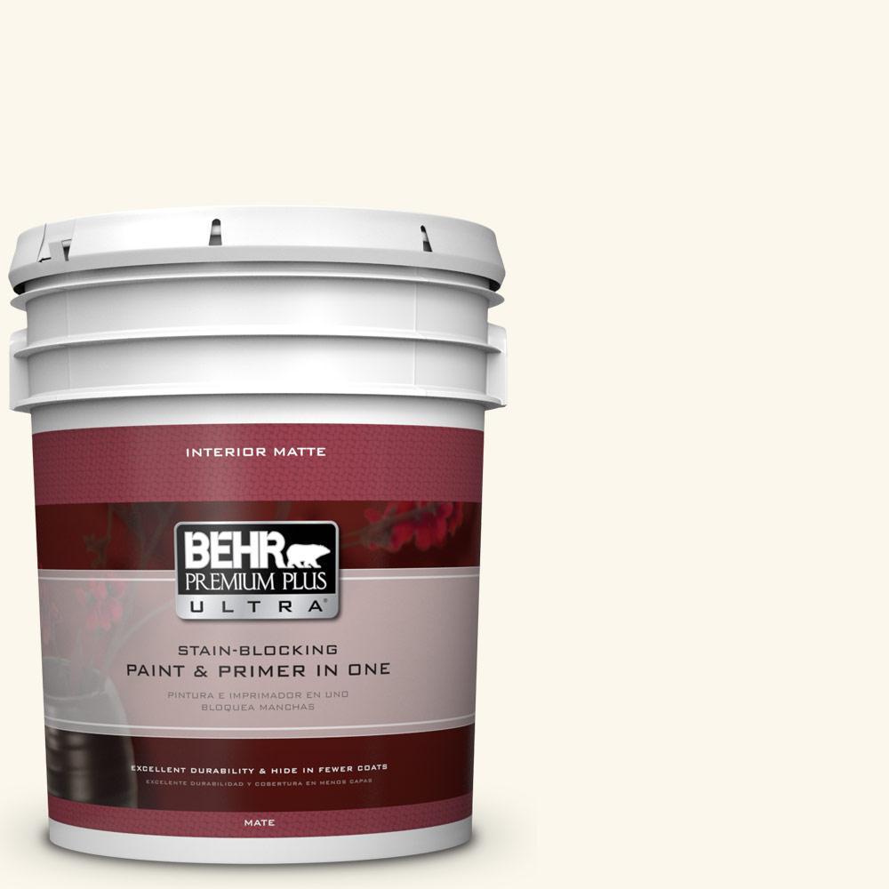 BEHR Premium Plus Ultra 5 gal. #W-B-400 Vermont Cream Flat/Matte Interior Paint