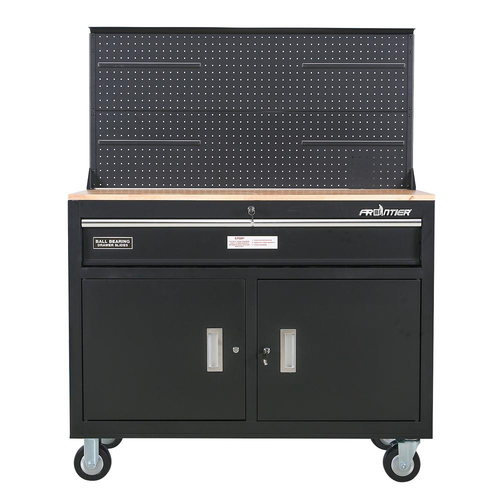 Frontier 46 in. 1-Drawer Tool Chest Cabinet, Mobile Workbench Station with Pegboard in Black