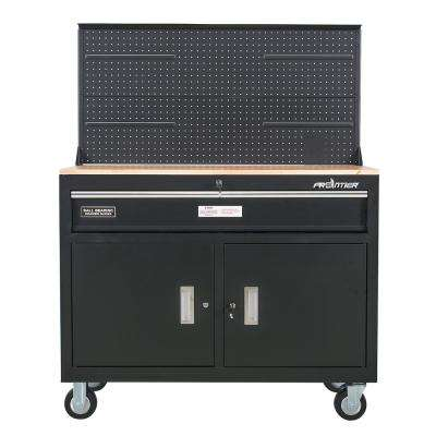 46 in. 1-Drawer Tool Chest Cabinet, Mobile Workbench Station with Pegboard in Black