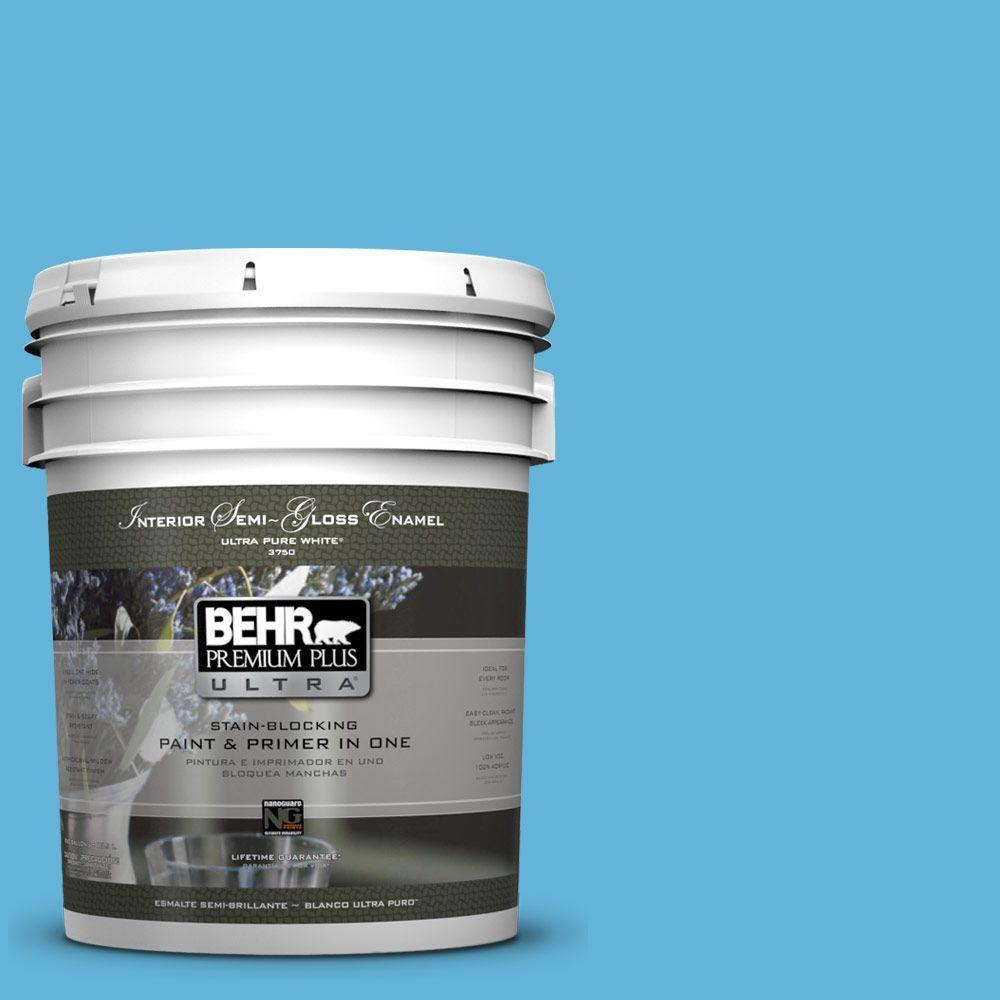5-gal. #540B-5 Riviera Blue Semi-Gloss Enamel Interior Paint