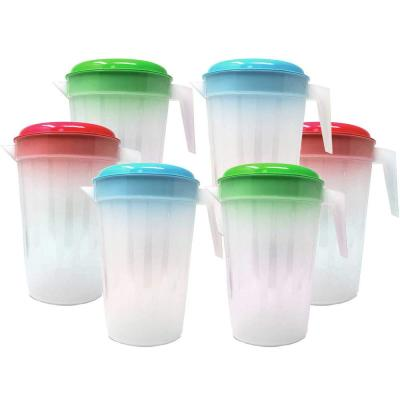Heavy Duty 1 Gal./4.5 Liter Round Clear Plastic Pitcher Jug With Removable Lid See Through Base and Handle (6-Pack)