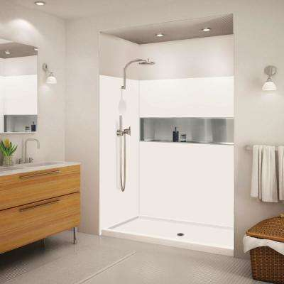 Expressions 32 in. x 60 in. x 72 in. Shower Kit with Center Drain in White