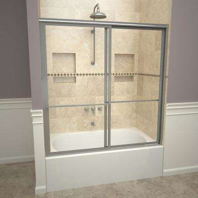 1100 Series 59 in. W x 58-1/2 in. H Framed Sliding Tub Doors in Brushed Nickel with Towel Bars and Clear Glass