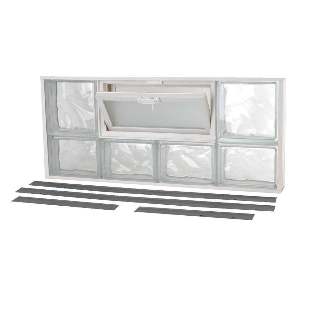 TAFCO WINDOWS 31 in. x 13.5 in. NailUp2 Wave Pattern Glass Block Window
