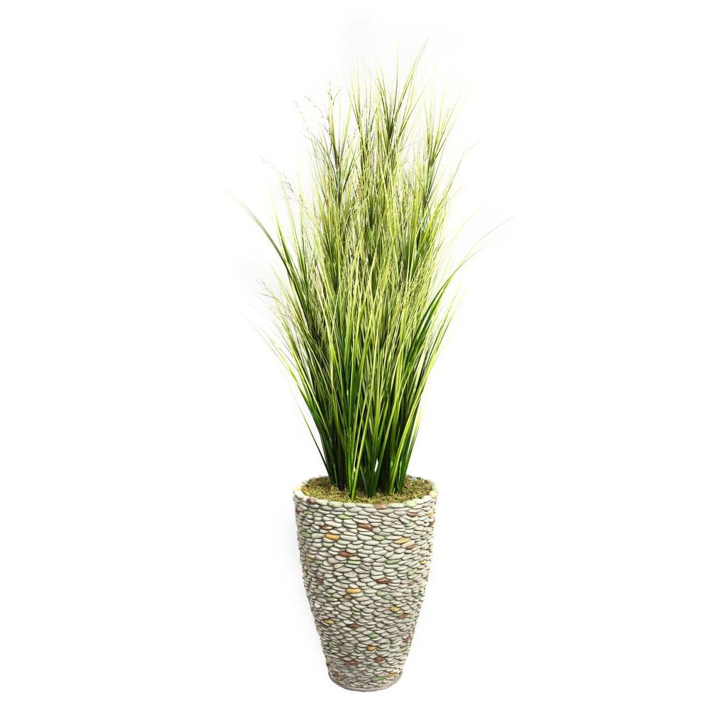 74 in. Tall Onion Grass with Twigs in 16 in. Fiberstone