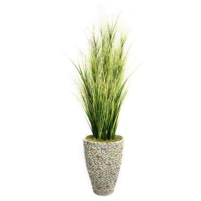 74 in. Tall Onion Grass with Twigs in 16 in. Fiberstone Planter