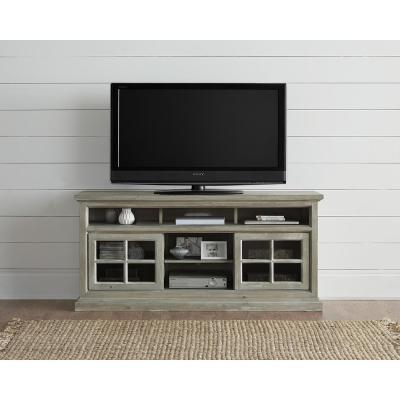 Buckhead 64 in. Antique Mint Wood TV Stand Fits TVs Up to 55 in. with Storage Doors