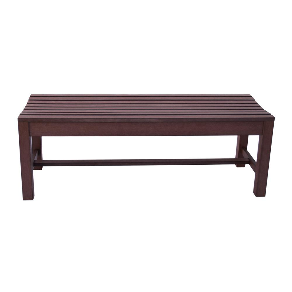 Shine Company 4 Ft Backless Recycled Plastic Outdoor Bench Chateau Brown