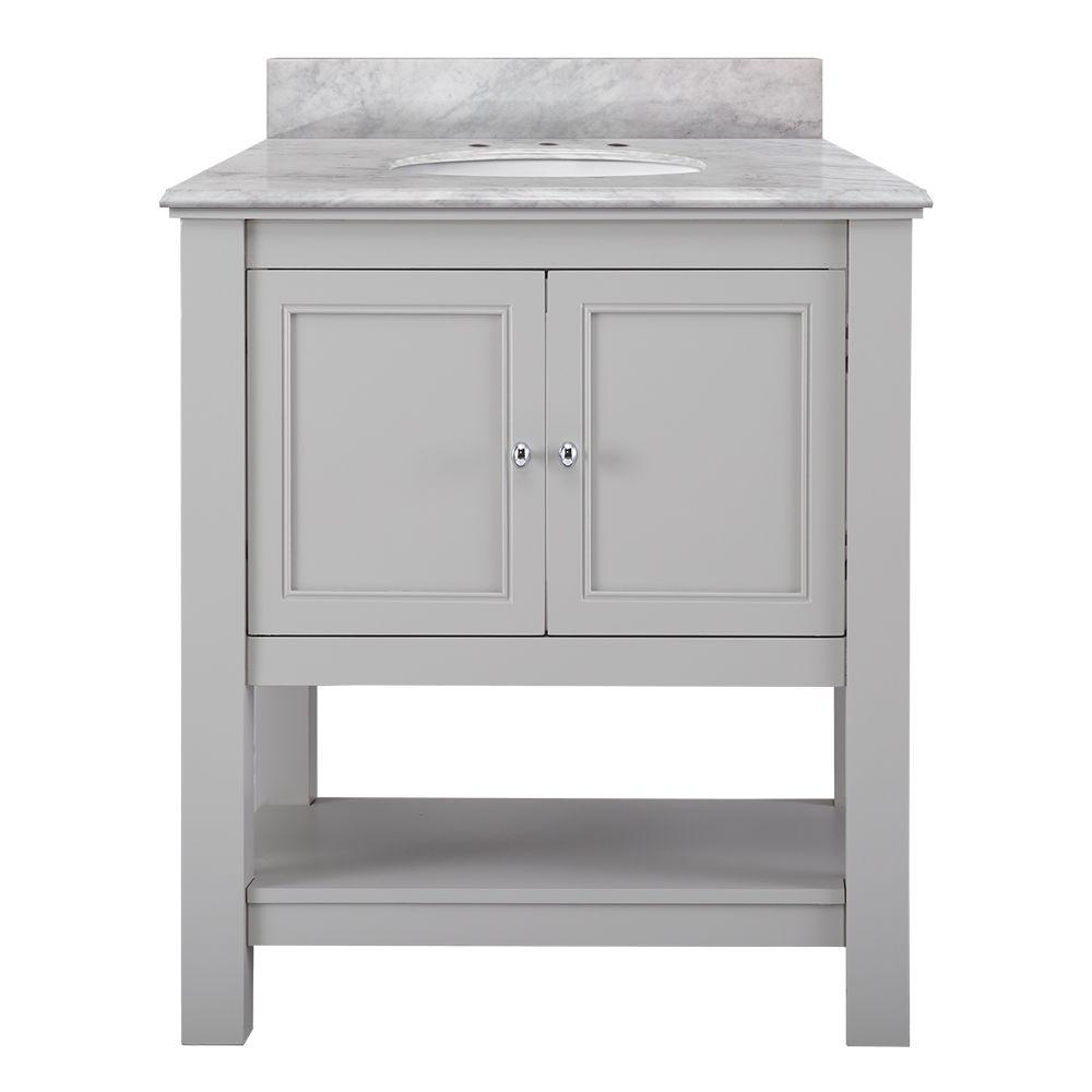 Home Decorators Collection Gazette 31 in. W x 22 in. D Bath Vanity in Grey with Marble Vanity Top in Carrara White was $799.0 now $559.3 (30.0% off)