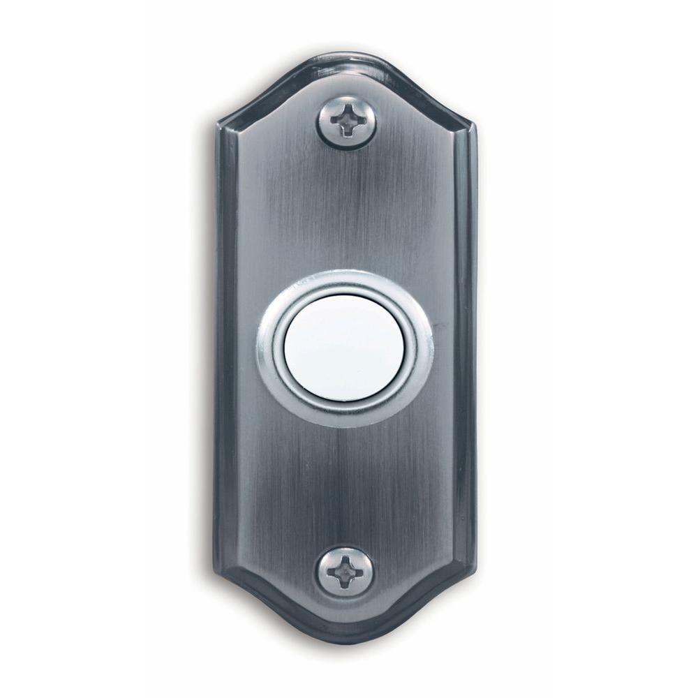 Heath Zenith Wired Push Button with Lighted Center in Pewter Finish